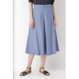 HUMAN WOMAN コットンオックスフレアーキュロット ひざ丈スカート,ブルー