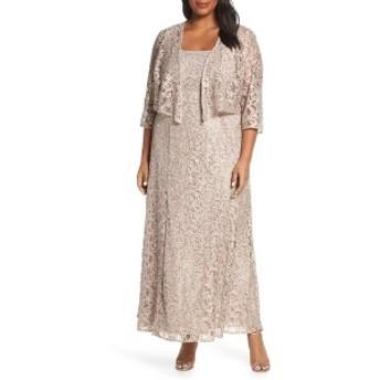 アレックスイブニングス レディース ワンピース トップス Alex Evenings Lace & Sequin Jacket Dress (Plus Size) Buff
