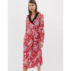 エイソス レディース ワンピース トップス ASOS DESIGN midi dress with long sleeves in floral jacquard print Multi
