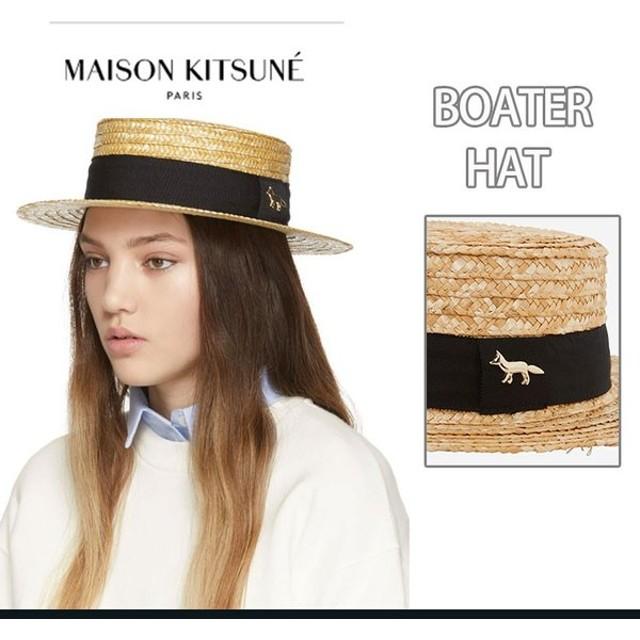在庫処分!MAISON KITSUNE メゾン キツネ 麦わら帽子 BOATER HAT サンハット 日除け帽子 メンズ レディース 2019 夏