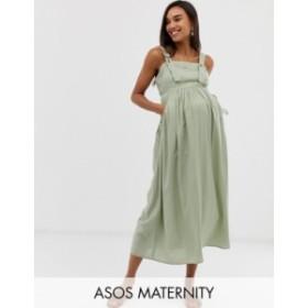 エイソス レディース ワンピース トップス ASOS DESIGN Maternity overall midi sundress with pocket detail Khaki