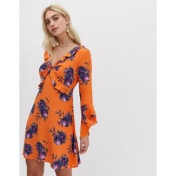 リバーアイランド レディース ワンピース トップス River Island Floral Print Frill Front Tea Dress Orange