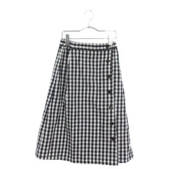 【中古】アースミュージック&エコロジー Premium Label スカート ミモレ チェック F 黒 ブラック ☆K☆ /yy0318 レディース【