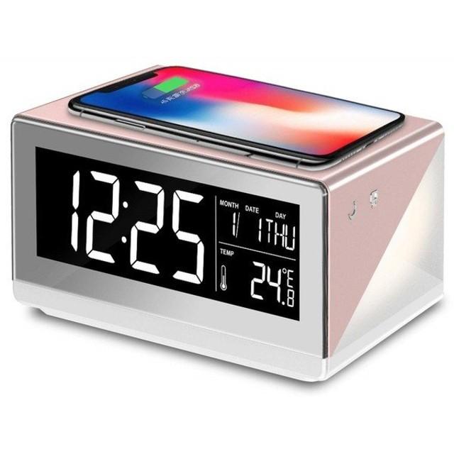 アデッソ QA-02RG ローズゴールド ワイヤレスチャージングクロック デジタル時計