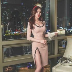 通勤 女らしい★セクシー 新品 パーティードレス 着痩せ 20代30代40代 ロング丈ワンピ 二次会 フォーマル 結婚式 袖ありタイトワンピース