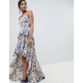 エイソス レディース ワンピース トップス ASOS DESIGN high low maxi dress in grid floral Grid floral