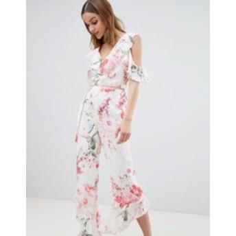 リバーアイランド レディース ワンピース トップス River Island Floral Print Frill Front Jumpsuit Cream floral