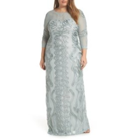 ジェイエスコレクションズ レディース ワンピース トップス JS Collections Soutache Trim Mesh Column Gown (Plus Size) Seafoam