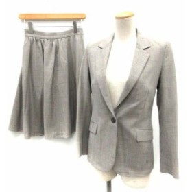【中古】セオリー theory スーツ セットアップ 上下 ジャケット スカート 0 00 グレー /TK レディース