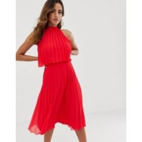 エイソス レディース ワンピース トップス ASOS DESIGN halter tie neck midi dress in pleat Bright red