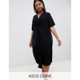 エイソス レディース ワンピース トップス ASOS DESIGN Curve relaxed midi dress with knot front Black