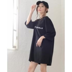 ビックシルエットTシャツワンピース*トップス プリント シンプル Tシャツ ワンピ 半袖 レディース ロゴ ゆったり 新作