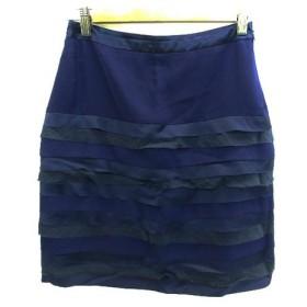 ユナイテッドアローズ UNITED ARROWS スカート ティアード 台形 ひざ丈 切替 異素材 38 紫 パープル /NS57 レディース【中古】