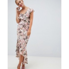 エイソス レディース ワンピース トップス ASOS DESIGN pretty light floral print ruffle maxi dress Floral print