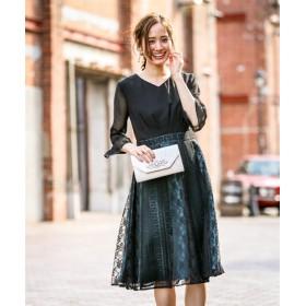 パッチワークレーススカート使いVネックワンピースドレス【結婚式。二次会。お呼ばれ対応】<大きいサイズ> 【謝恩会・パーティドレス】