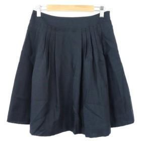 ナチュラルビューティーベーシック NATURAL BEAUTY BASIC スカート ミニ フレア プリーツ 無地 S 紺 ネイビー /M2N15 レ