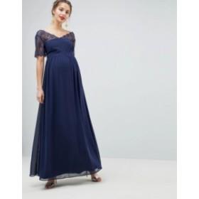 エイソス レディース ワンピース トップス ASOS DESIGN Maternity lace insert paneled maxi dress Navy