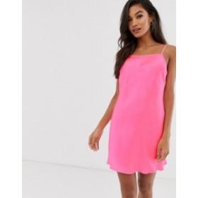 エイソス レディース ワンピース トップス ASOS DEISGN satin neon bias cut slip dress Neon pink
