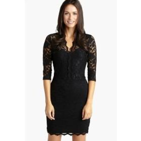 カレンケーン レディース ワンピース トップス Karen Kane Scalloped Lace Sheath Dress Black