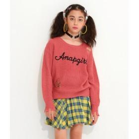 ANAP GiRL(アナップガール)/ダメージロゴ刺繍セーター