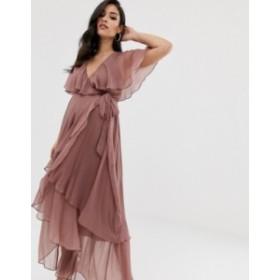 エイソス レディース ワンピース トップス ASOS DESIGN Maternity maxi dress with cape back and dipped hem Dusty mauve