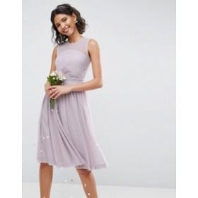 エイソス レディース ワンピース トップス ASOS DESIGN midi dress with ruched panel detail Lilac