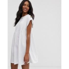 エイソス レディース ワンピース トップス ASOS DESIGN button sleeve mini smock dress White