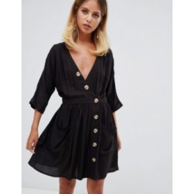 エイソス レディース ワンピース トップス ASOS DESIGN casual mini dress with pocket & side buttons Black