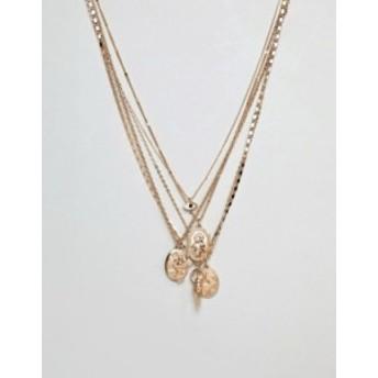 エイソス メンズ ネックレス・チョーカー アクセサリー ASOS DESIGN layered necklace with mixed pendants in gold tone Gold