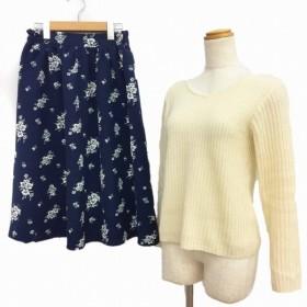 アースミュージック&エコロジー Premium Label ニット セーター スカート フレア SET F 白 紺 ホワイト ネイビー MCK レディース【中古】