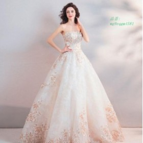 ビスチェ 刺繍 編み上げ 20代30代40代 二次会 カラードレス 花嫁 着痩せ ノースリーブ 結婚式 高品質 プリンセス バックレス ウエディン