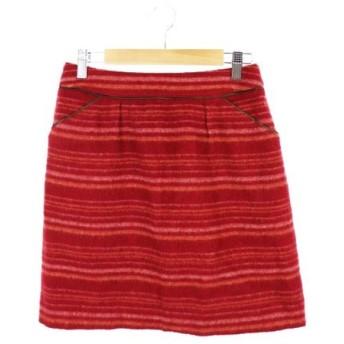 ナチュラルビューティーベーシック NATURAL BEAUTY BASIC スカート 台形 ミニ ウール 総柄 S 赤 レッド /AS レディース【中