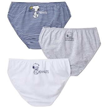 【WEB限定】制服ショーツ 綿混ストレッチスヌーピーショーツ3枚組 スタンダードショーツ,Panties
