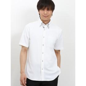 ポロシャツ - TAKA-Q MEN TAKA-Q/mens: Biz パイピングボタンダウン半袖カットシャツ/ビズポロ/クールビズ