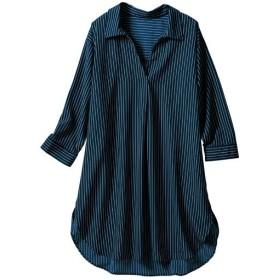 40%OFF【レディース大きいサイズ】 ストライプ抜き衿スキッパーシャツ - セシール ■カラー:ネイビー ■サイズ:5L,L,LL,3L,4L