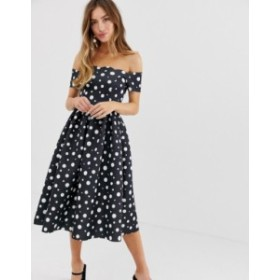 エイソス レディース ワンピース トップス ASOS DESIGN Scallop neckline polka dot  prom midi dress Multi