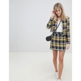エイソス レディース スカート ボトムス ASOS DESIGN yellow check boucle mini skirt with chain detail Check