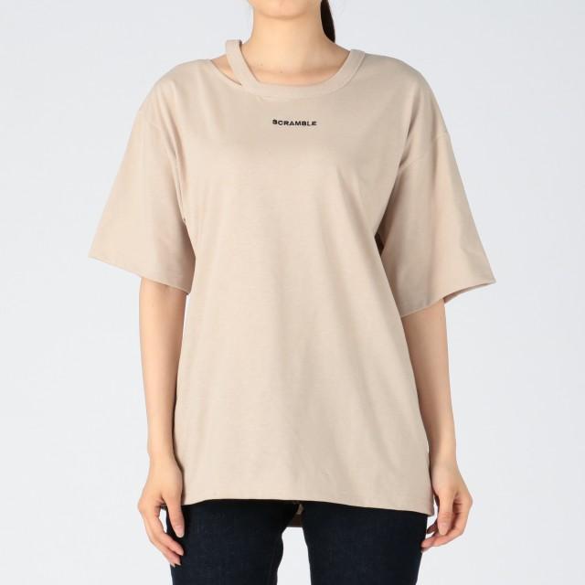INGNI イング ネックスラッシュちびロゴTシャツ レディース