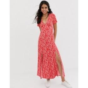 エイソス レディース ワンピース トップス ASOS DESIGN button through maxi tea dress with splits in ditsy print Red ditsy