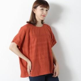 シャツ ブラウス レディース 刺繍生地使い切り替えブラウス 「オレンジ」