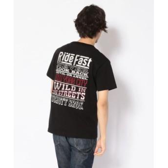 (Schott/ショット)EMBROIDERED T-SHIRT RIDE MESSAGE/刺繍Tシャツ ライドメッセージ/メンズ BLACK 送料無料