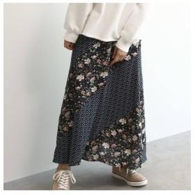 【オゾック/OZOC】 [洗える]花柄切替マキシスカート