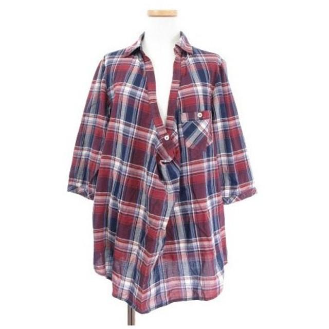 【中古】ショコラフィネローブ chocol raffine robe シャツ ブラウス スキッパー 五分袖 チェック 赤 レッド ☆K☆ /☆a0319 レデ