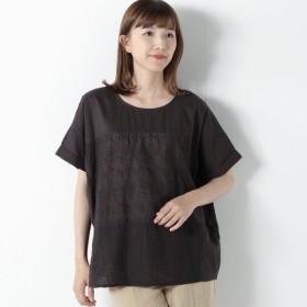 シャツ ブラウス レディース 刺繍生地使い切り替えブラウス 「ブラック」