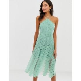 エイソス レディース ワンピース トップス ASOS DESIGN midi dress with pinny bodice with cutwork skirt detail Mint