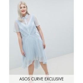 エイソス レディース ワンピース トップス ASOS DESIGN Curve shirt dress in dobby lace Blue