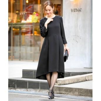 【喪服。礼服】フィッシュテールデザインワンピース(オールシーズン対応)<大きいサイズ有> (ブラックフォーマル),plus size