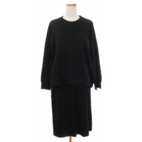 【中古】セブンデイズサンデイ SEVENDAYS=SUNDAY セットアップ ニット 長袖 スカート L 黒 ブラック /yy0605 レディース