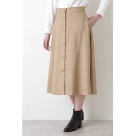 HUMAN WOMAN アナスタシアトリコチンフレアスカート ひざ丈スカート,ベージュ