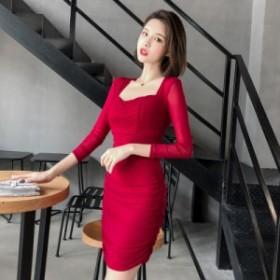 送料無料 ワンピース 韓国 ドレス 激安 xlサイズ ミニ 膝丈 タイトスカート韓国ファッション レディース シースルー 美ライン パーティー